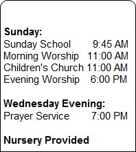 Weekly Services Schedule